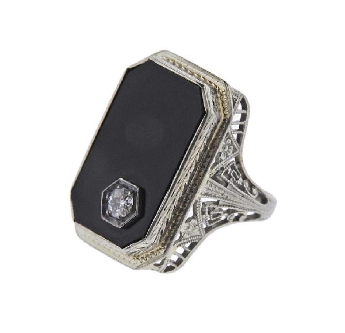 Art Deco 18K Gold Diamond Onyx Ring