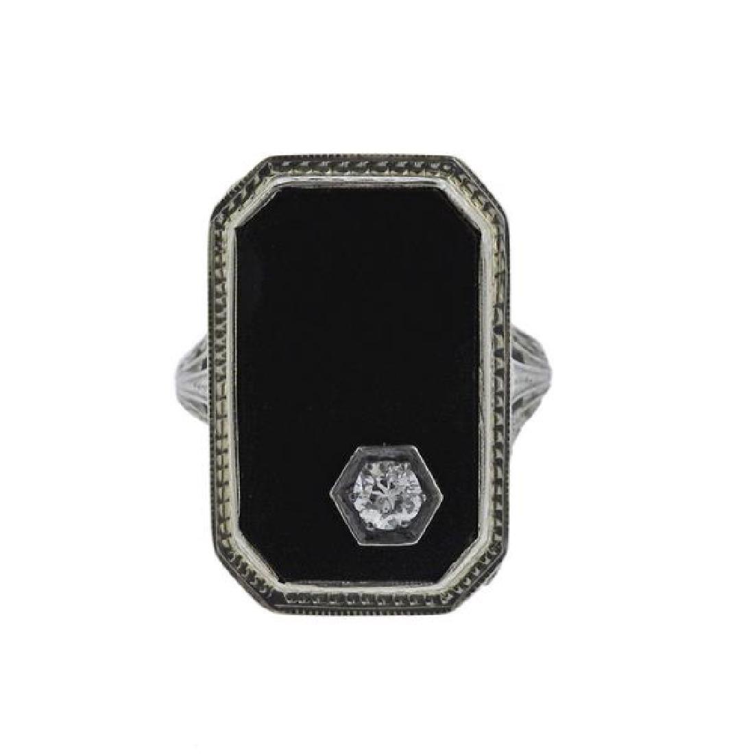 Art Deco 18K Gold Diamond Onyx Ring - 2