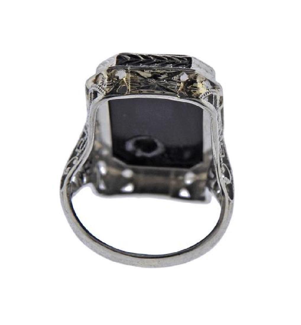 Art Deco 18K Gold Diamond Onyx Ring - 3