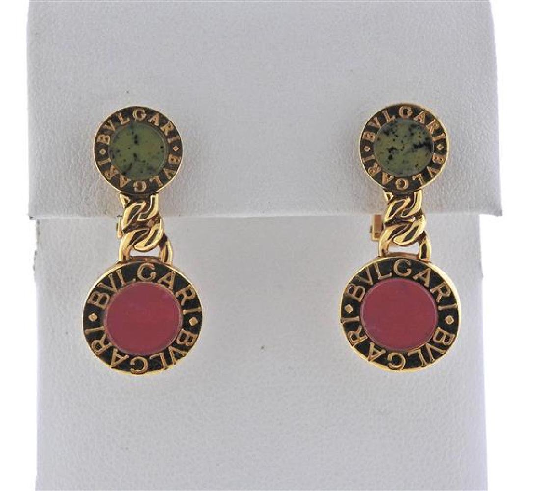 Bulgari Bvlgari 18K Gold Rhodochrosite Jade Earrings