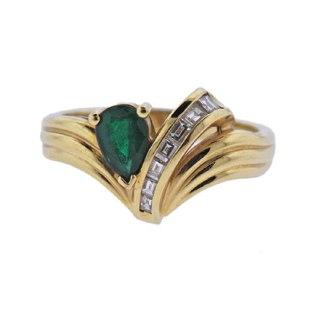 18K Gold Diamond Emerald Ring