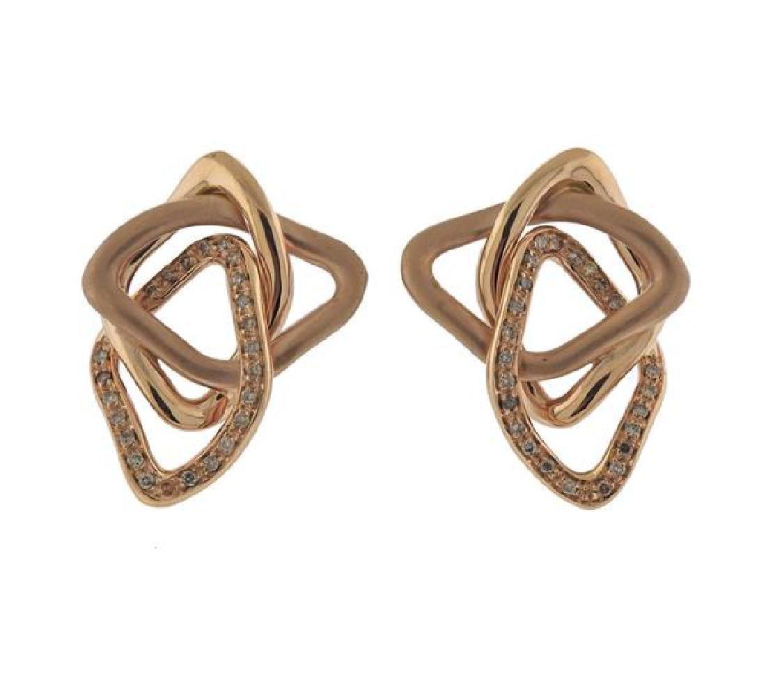 18K Gold Diamond Free Form Earrings