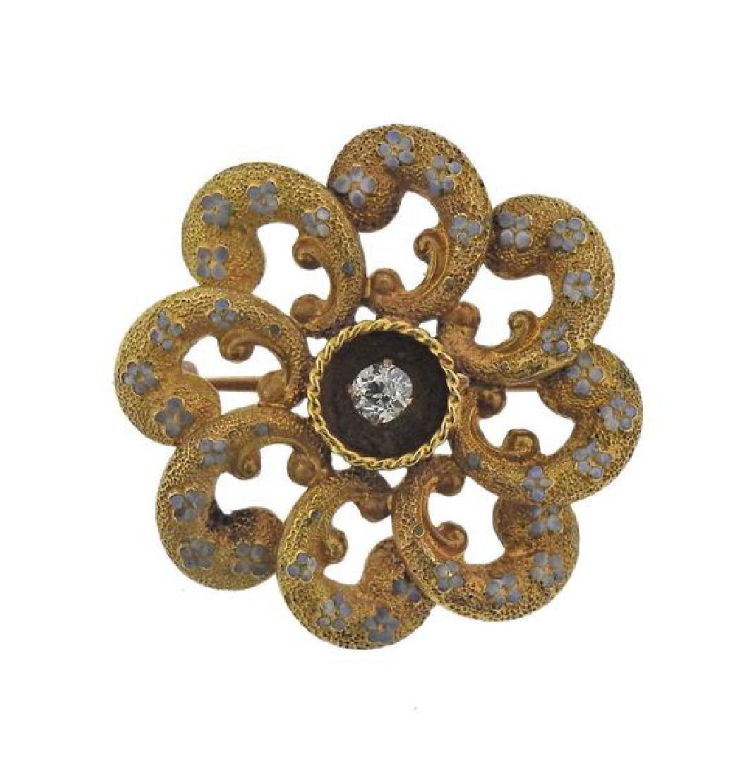 Antique 18K Gold Diamond Enamel Brooch