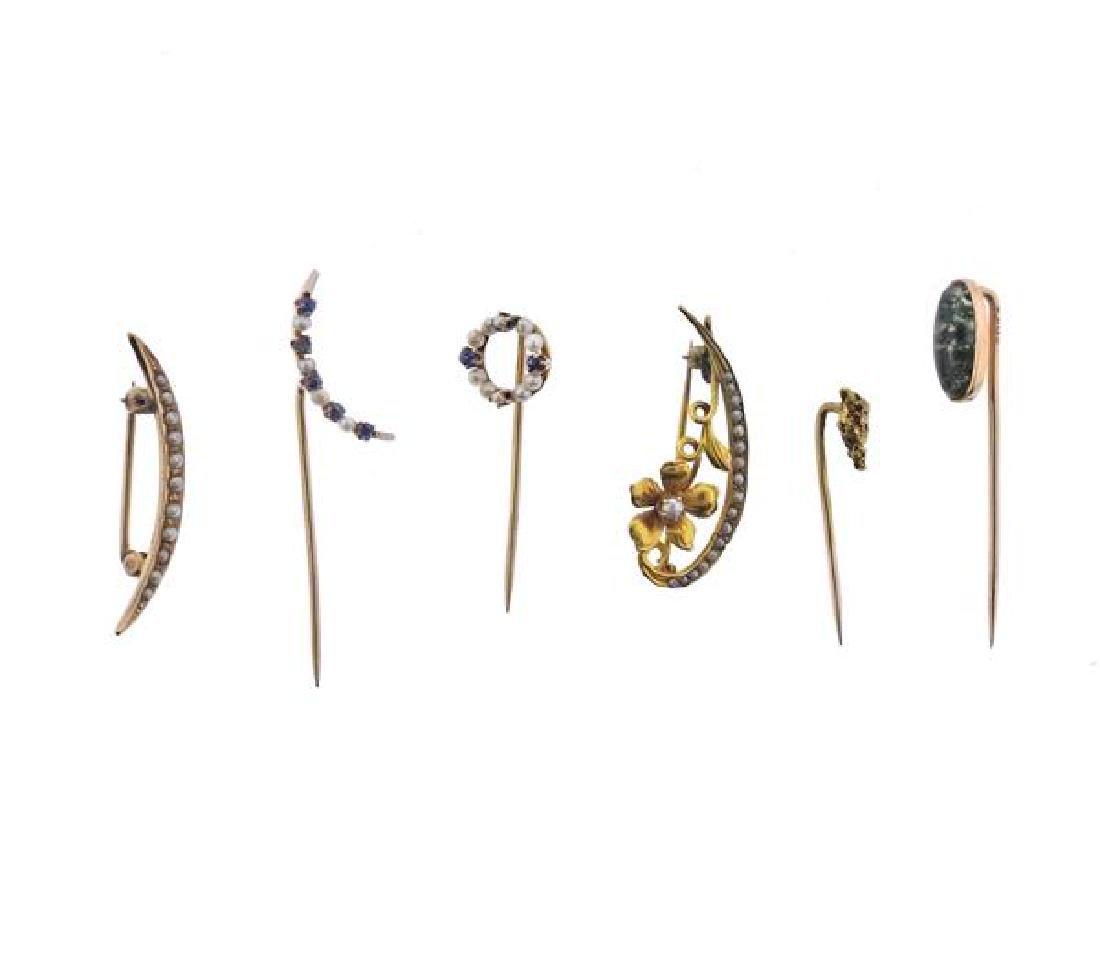 Antique 14K Gold Multi Gemstone Pin Lot of 6