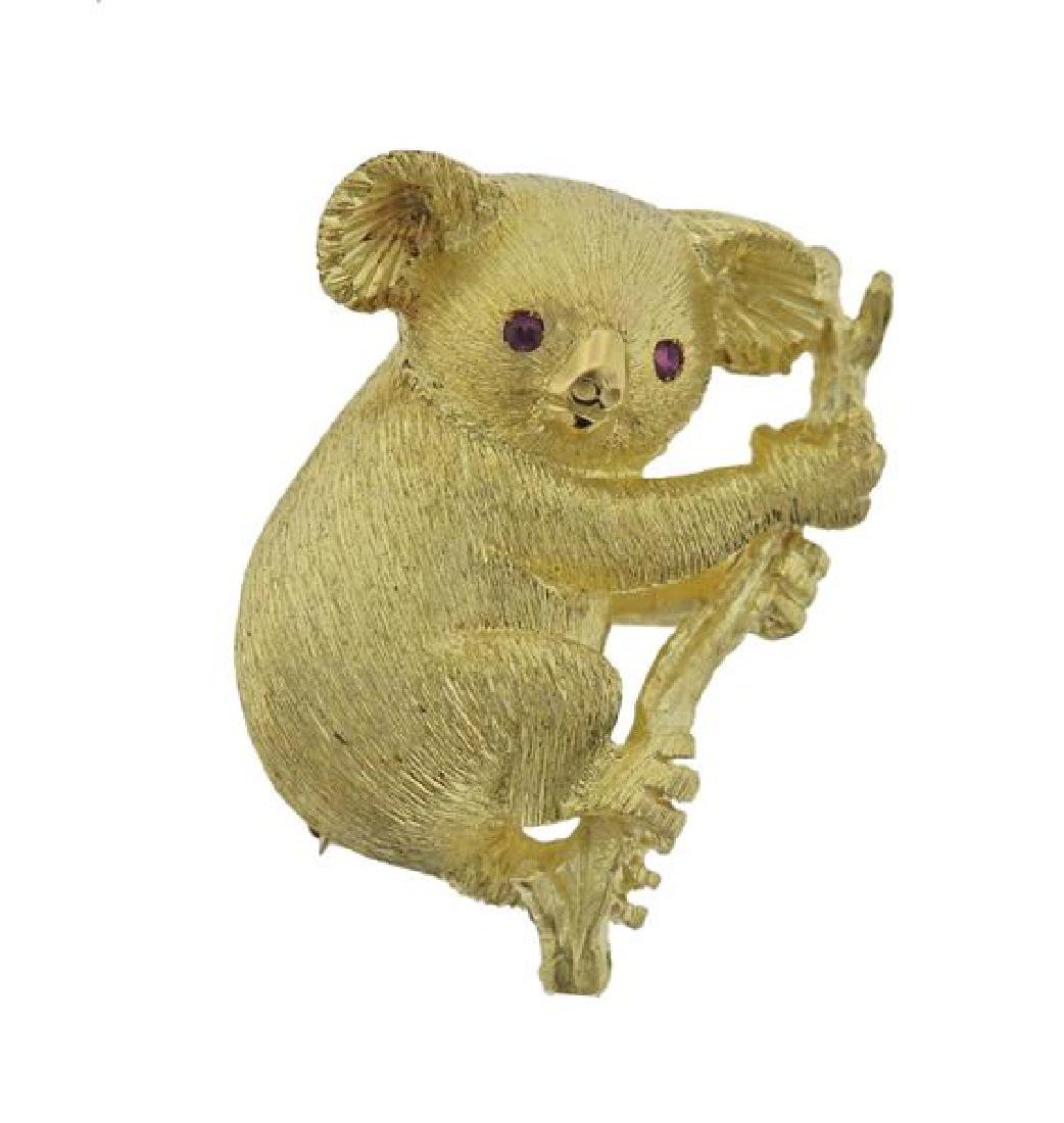18K Gold Red Gemstone Koala Brooch