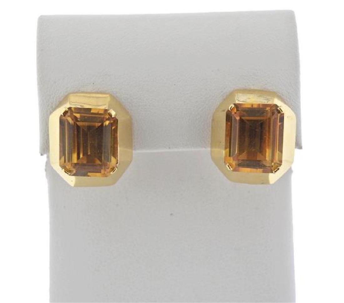 Retro 14K Gold Citrine Earrings