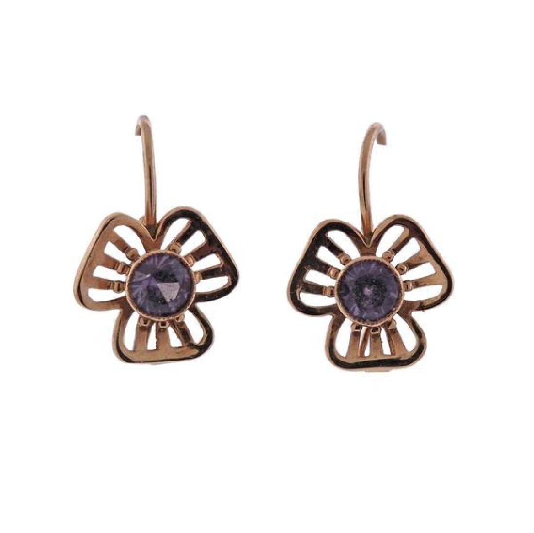 Russian 14K Gold Purple Gemstone Earrings