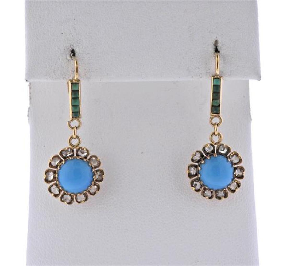 Antique 14K Gold Diamond Turquoise Jade Earrings