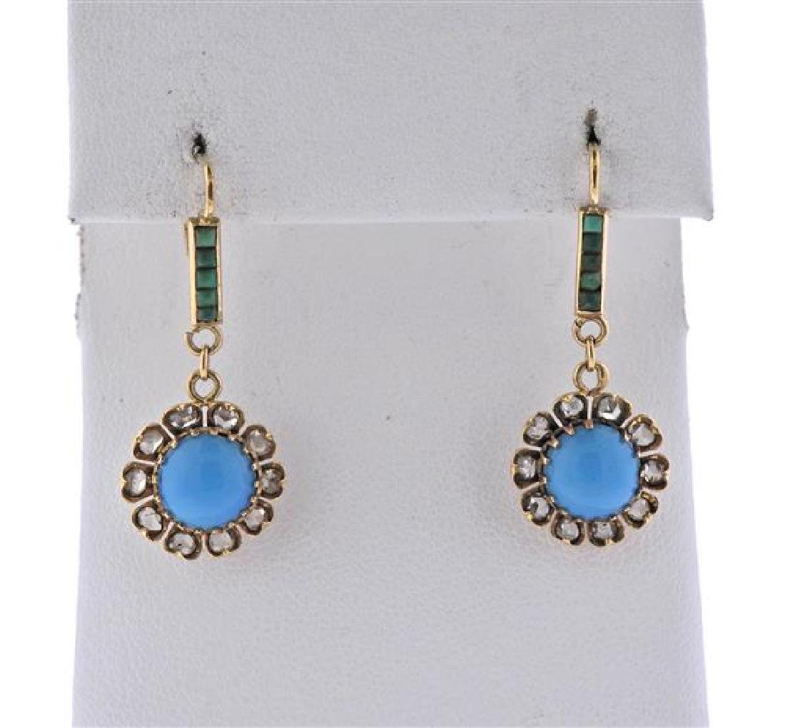Antique 14K Gold Diamond Turquoise Jade Earrings