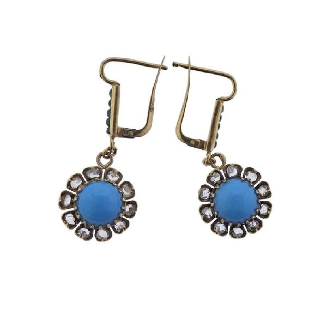 Antique 14K Gold Diamond Turquoise Jade Earrings - 2