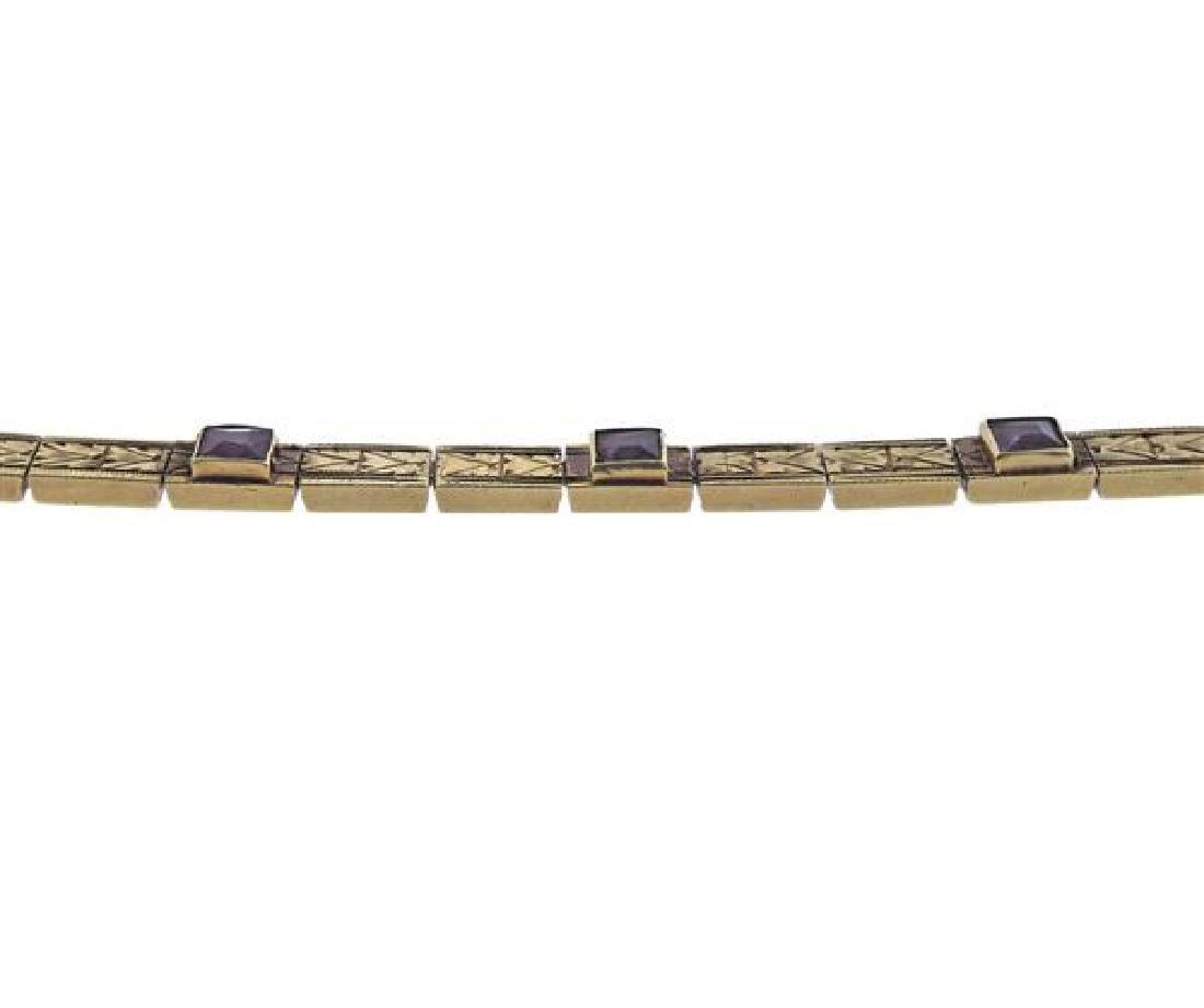 Antique 14K Gold Purple Stone Line Bracelet - 3