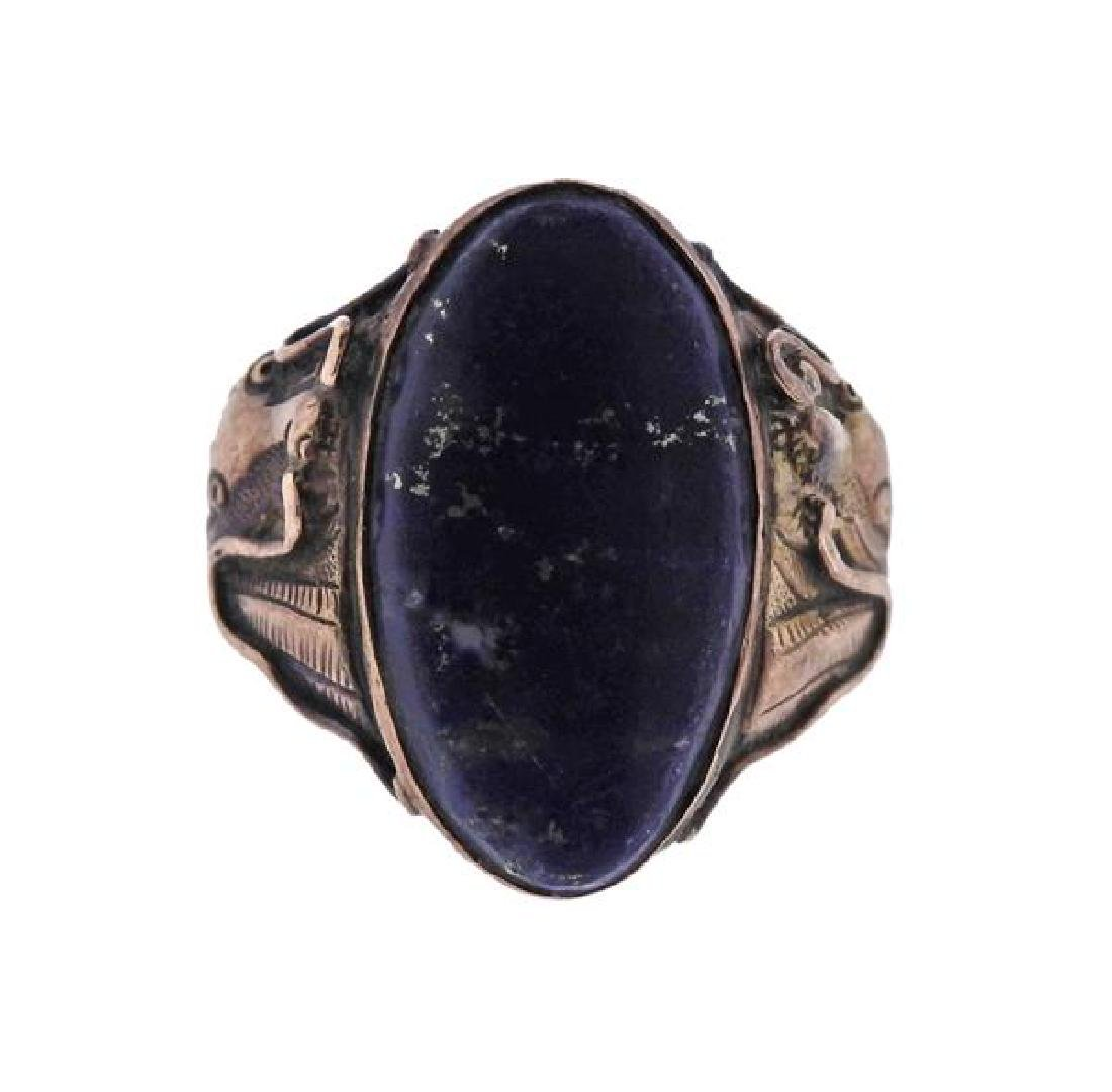 Antique 14K Gold Lapis Ring