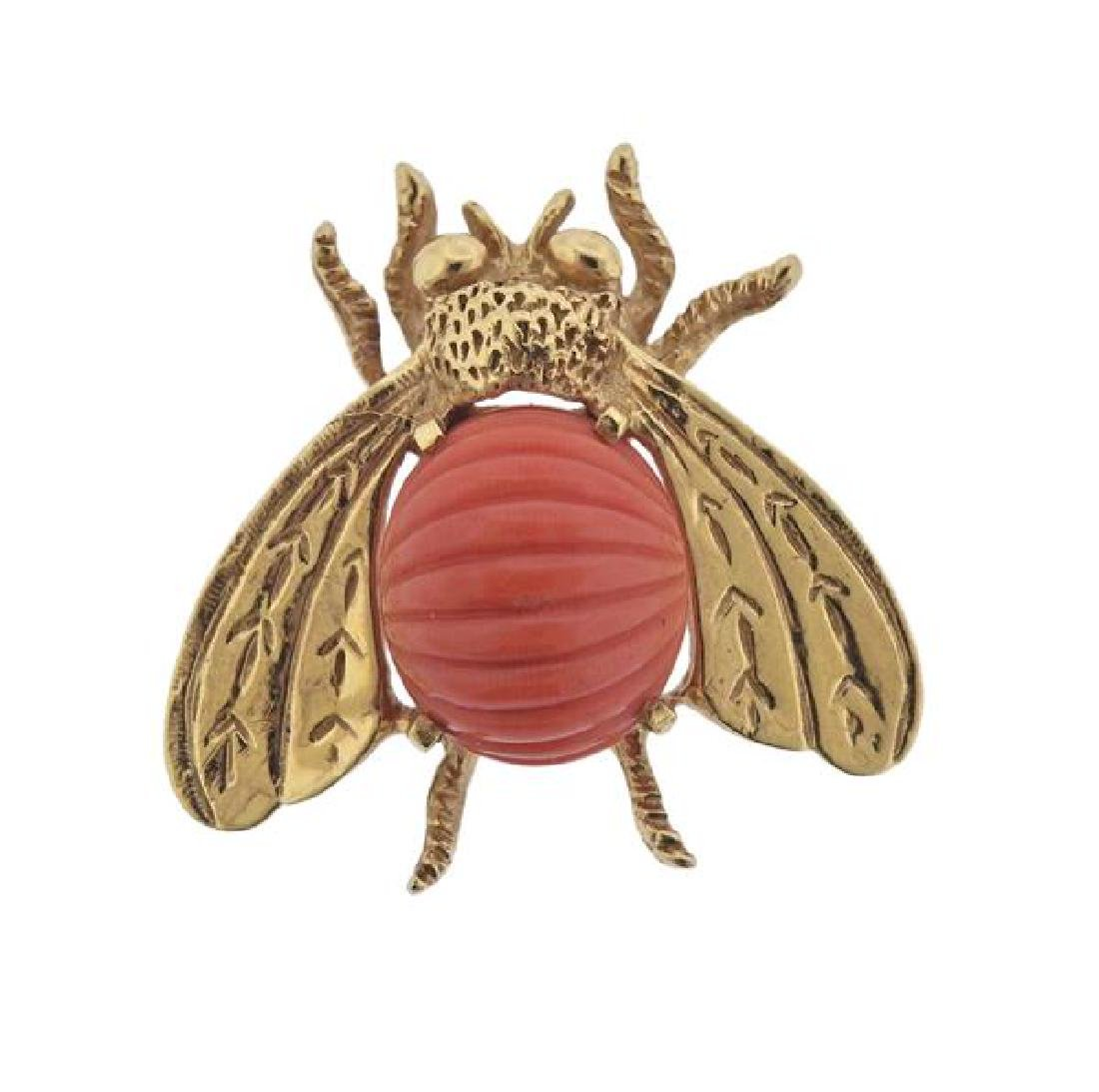 14K Gold Carved Coral Fly Brooch