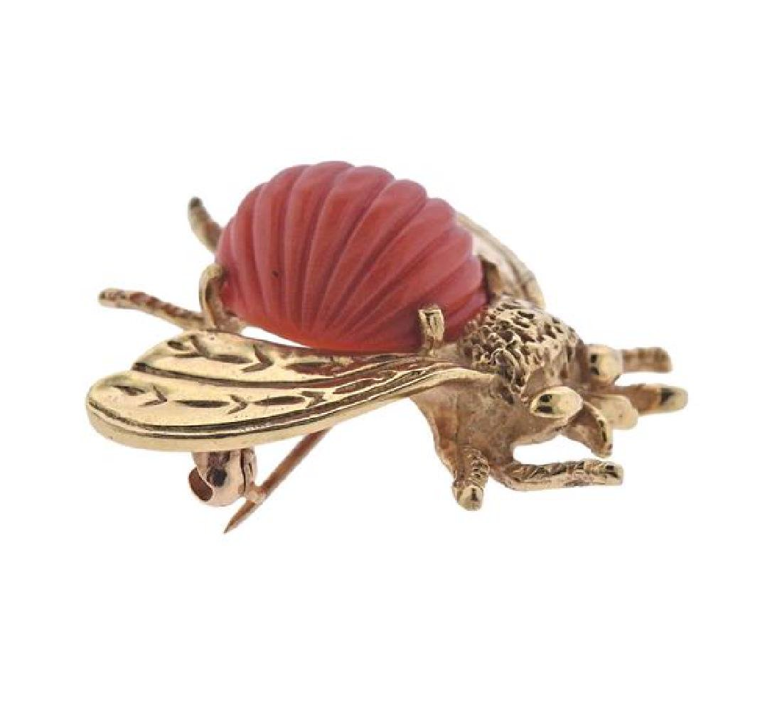14K Gold Carved Coral Fly Brooch - 2