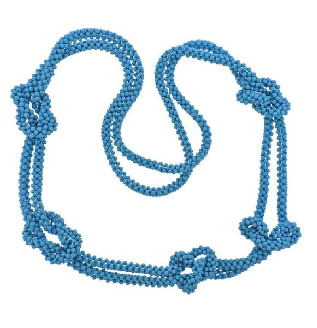 Blue Bead Knotted Long Necklace