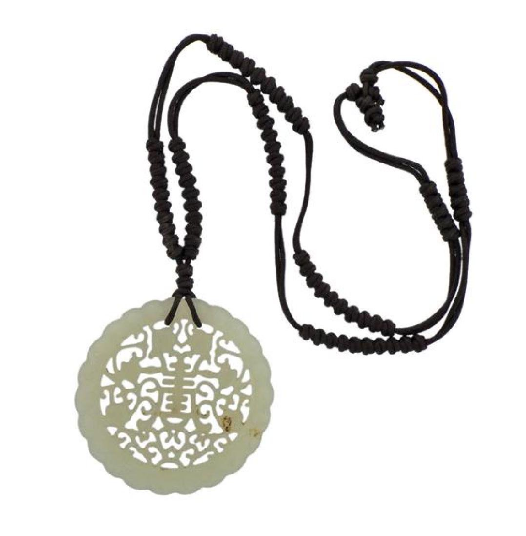 Carved Jade Pendant Cord Necklace
