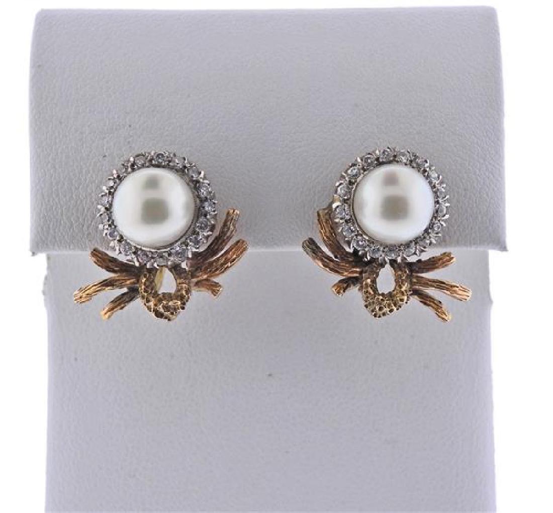 14k Gold Diamond Pearl Earrings