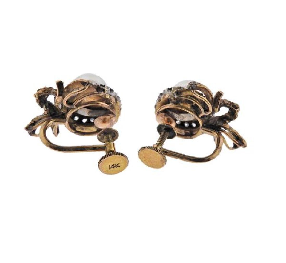 14k Gold Diamond Pearl Earrings - 3