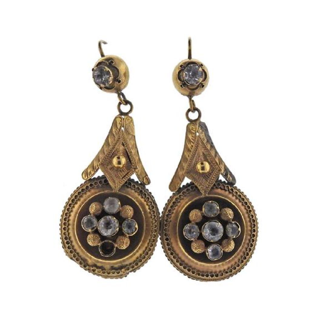 Antique Victorian 14k Gold Paste Earrings