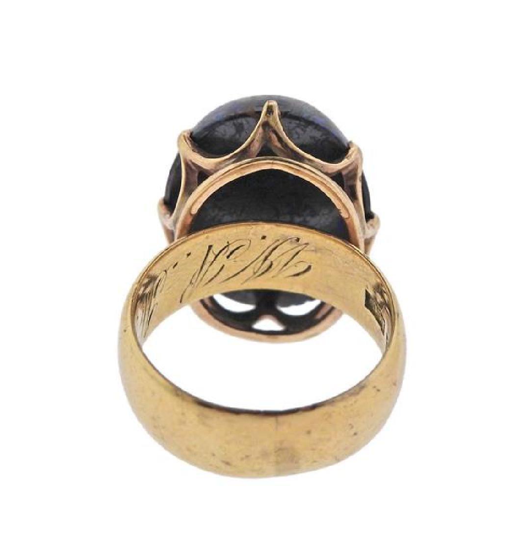 Antique 18k Gold Boulder Opal Ring - 3