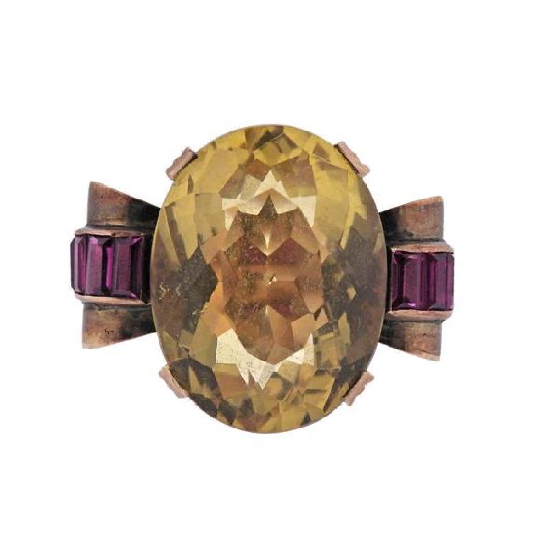Retro 14k Gold Citrine Ruby Ring