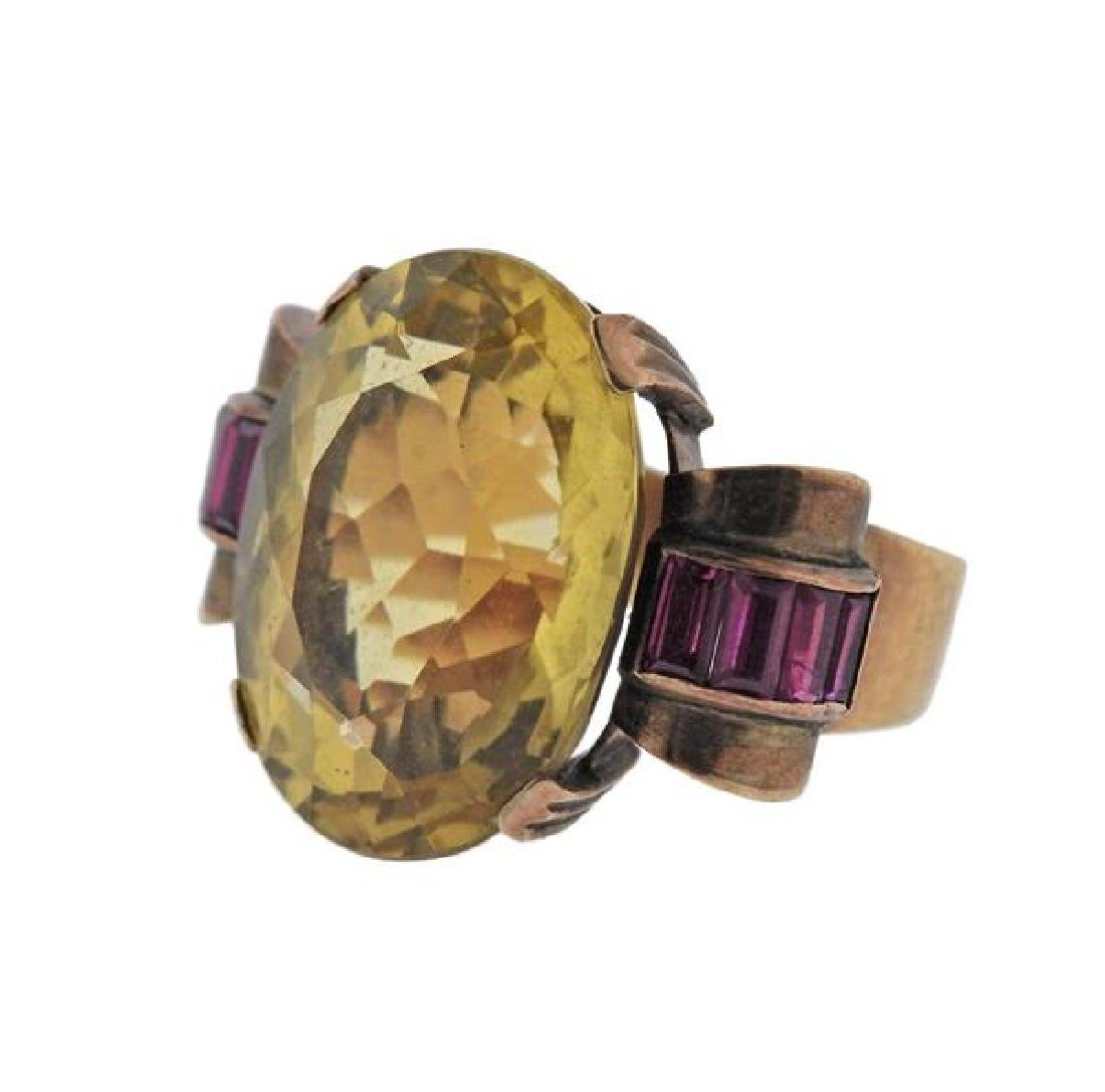 Retro 14k Gold Citrine Ruby Ring - 2