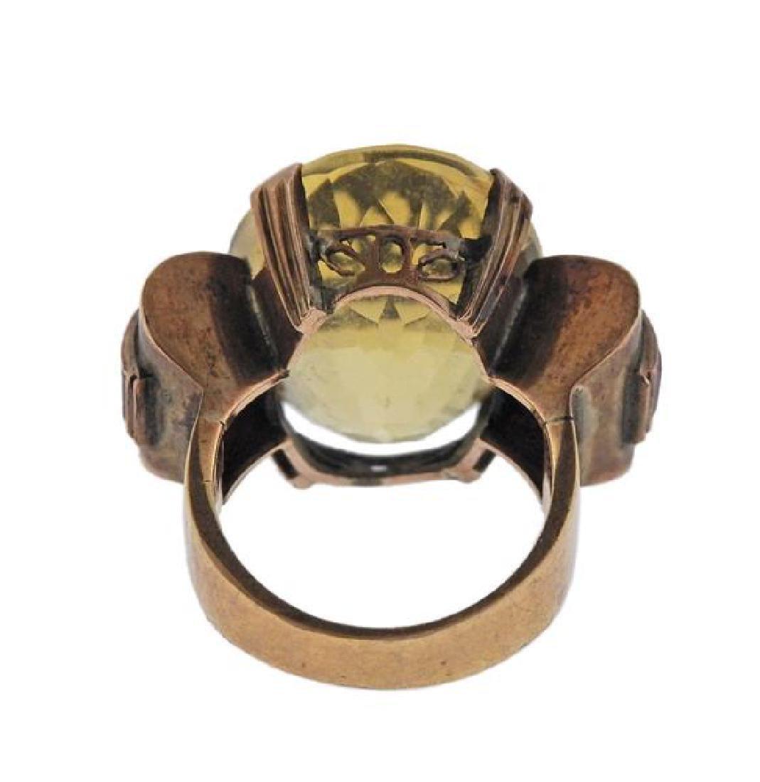 Retro 14k Gold Citrine Ruby Ring - 3