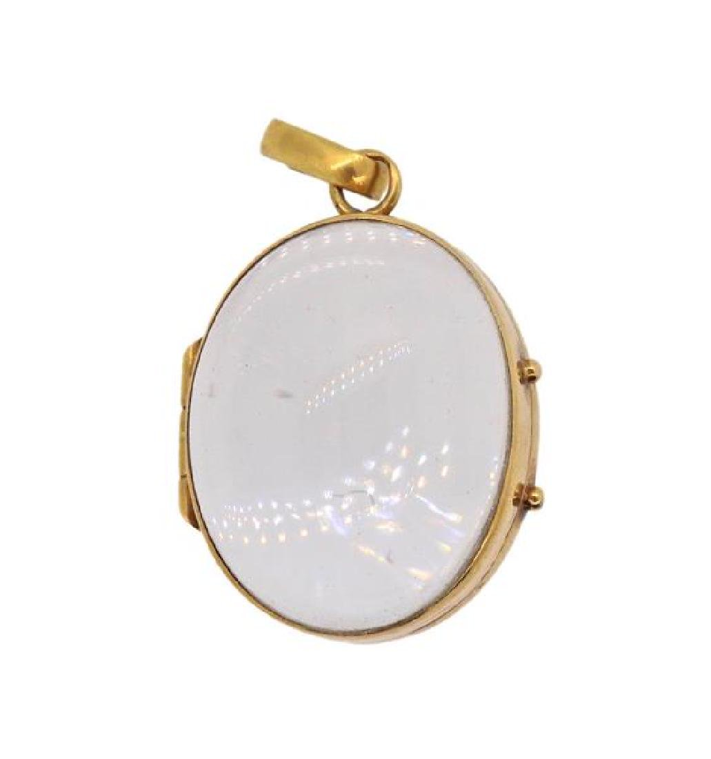 Antique 18k Gold Glass Locket Pendant