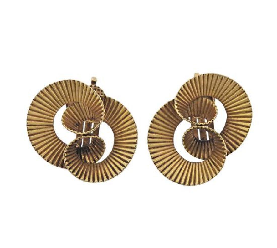 Retro 14k Gold Swirl Earrings