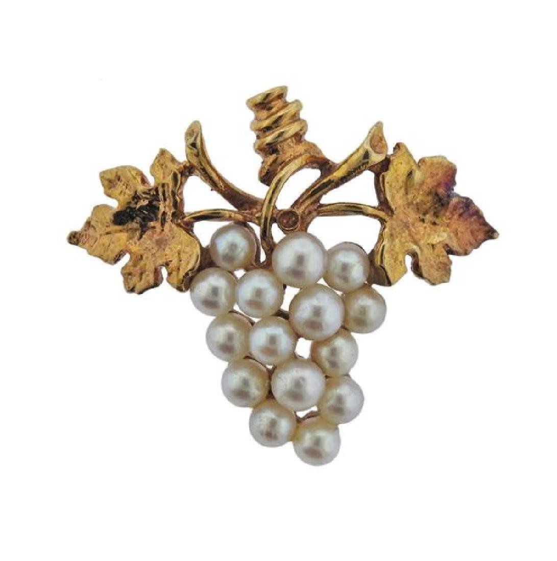 14K Gold Pearl Grape Bunch Brooch
