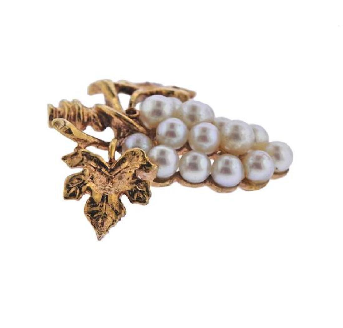 14K Gold Pearl Grape Bunch Brooch - 2