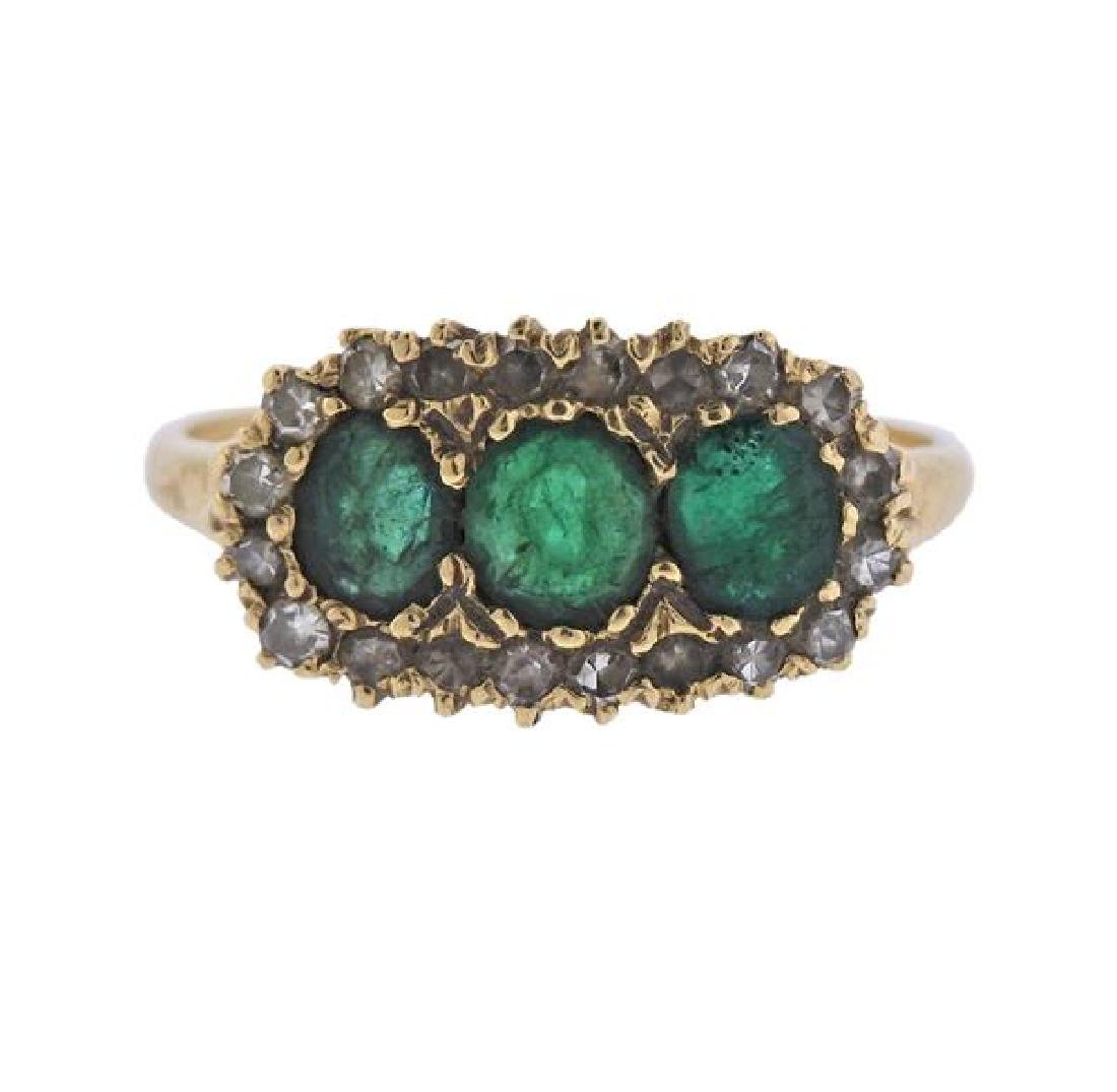 Antique 14K Gold Diamond Green Stone Ring