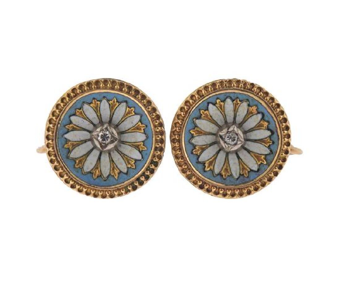 Antique 14K Gold Diamond Enamel Earrings