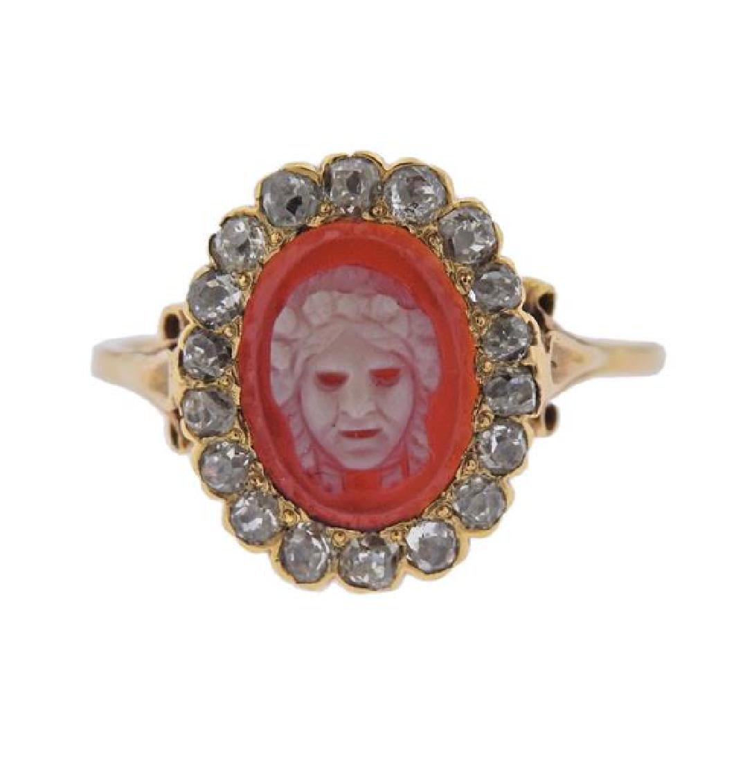 18K Gold Diamond Cameo Ring