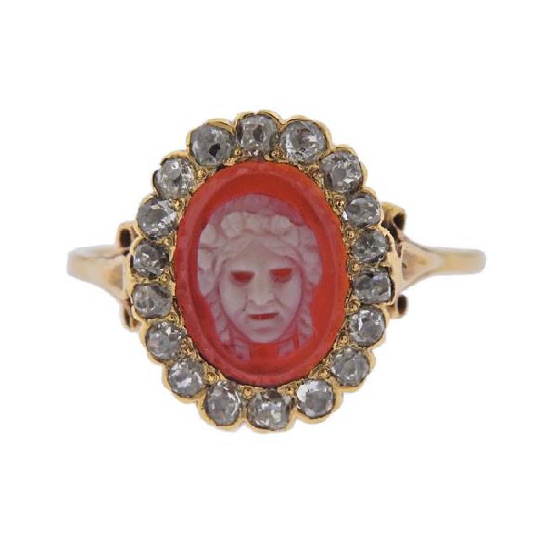 18K Gold Diamond Cameo Ring