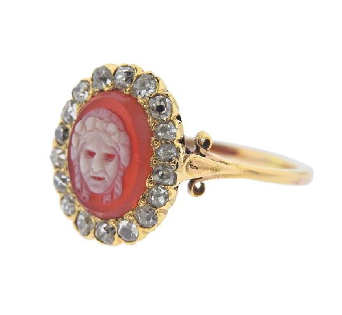 18K Gold Diamond Cameo Ring - 2