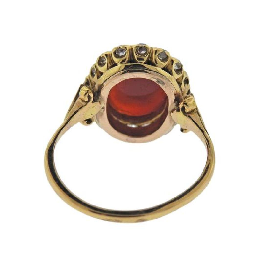 18K Gold Diamond Cameo Ring - 3