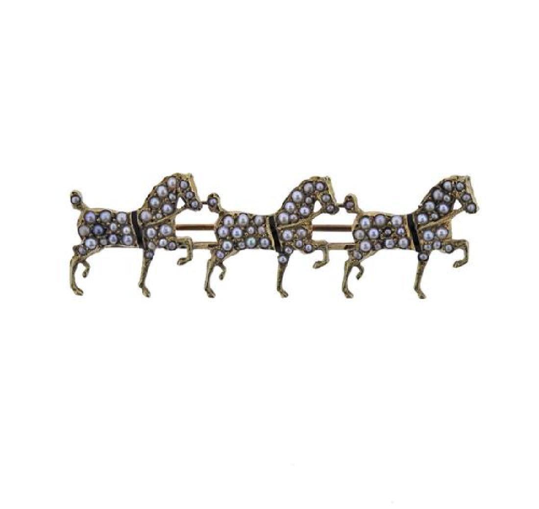 Antique 14K Gold Pearl Three Horses Brooch