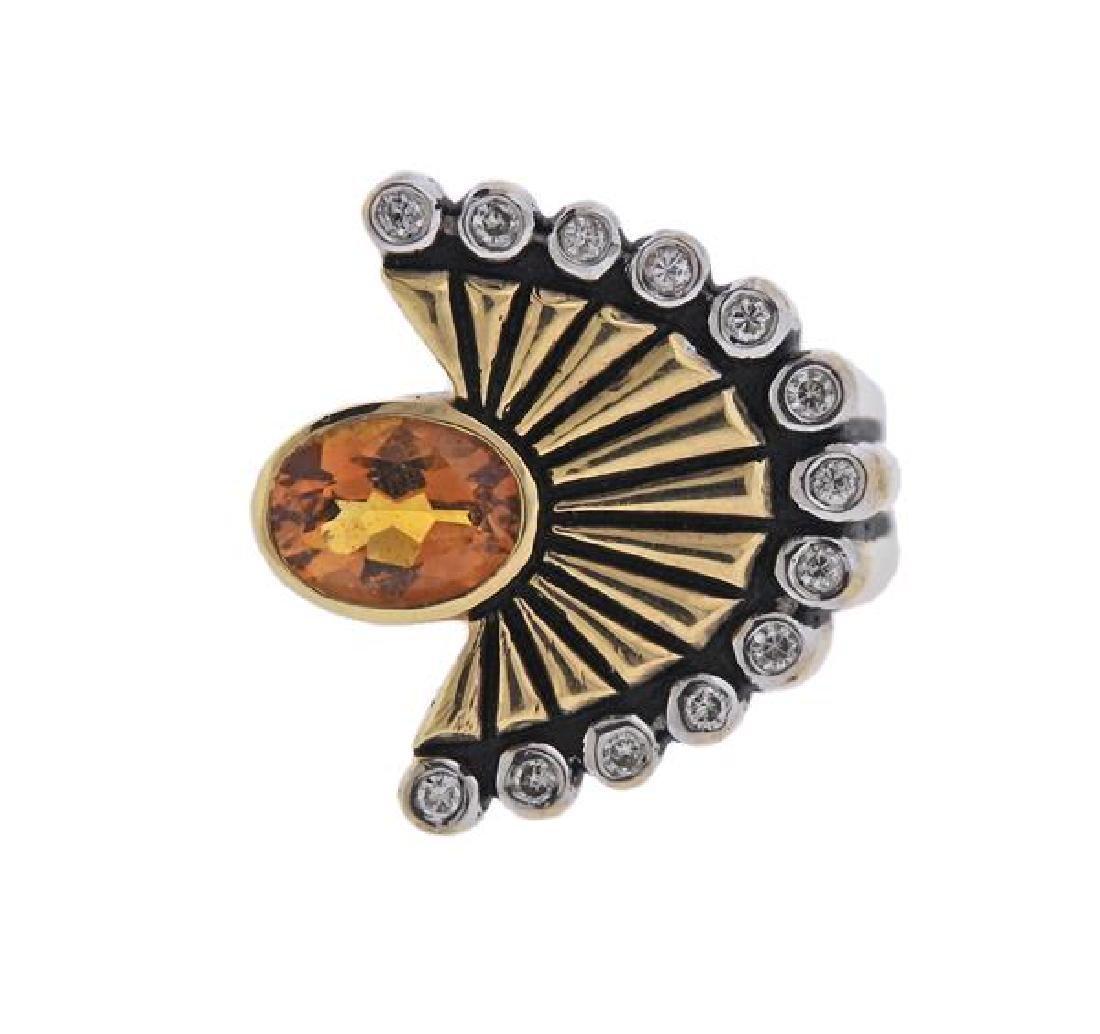 Erte La Mer 14K Gold Diamond Orange Gemstone Ring