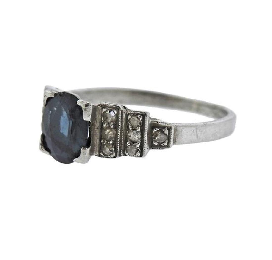 Platinum Diamond Stone Ring - 2