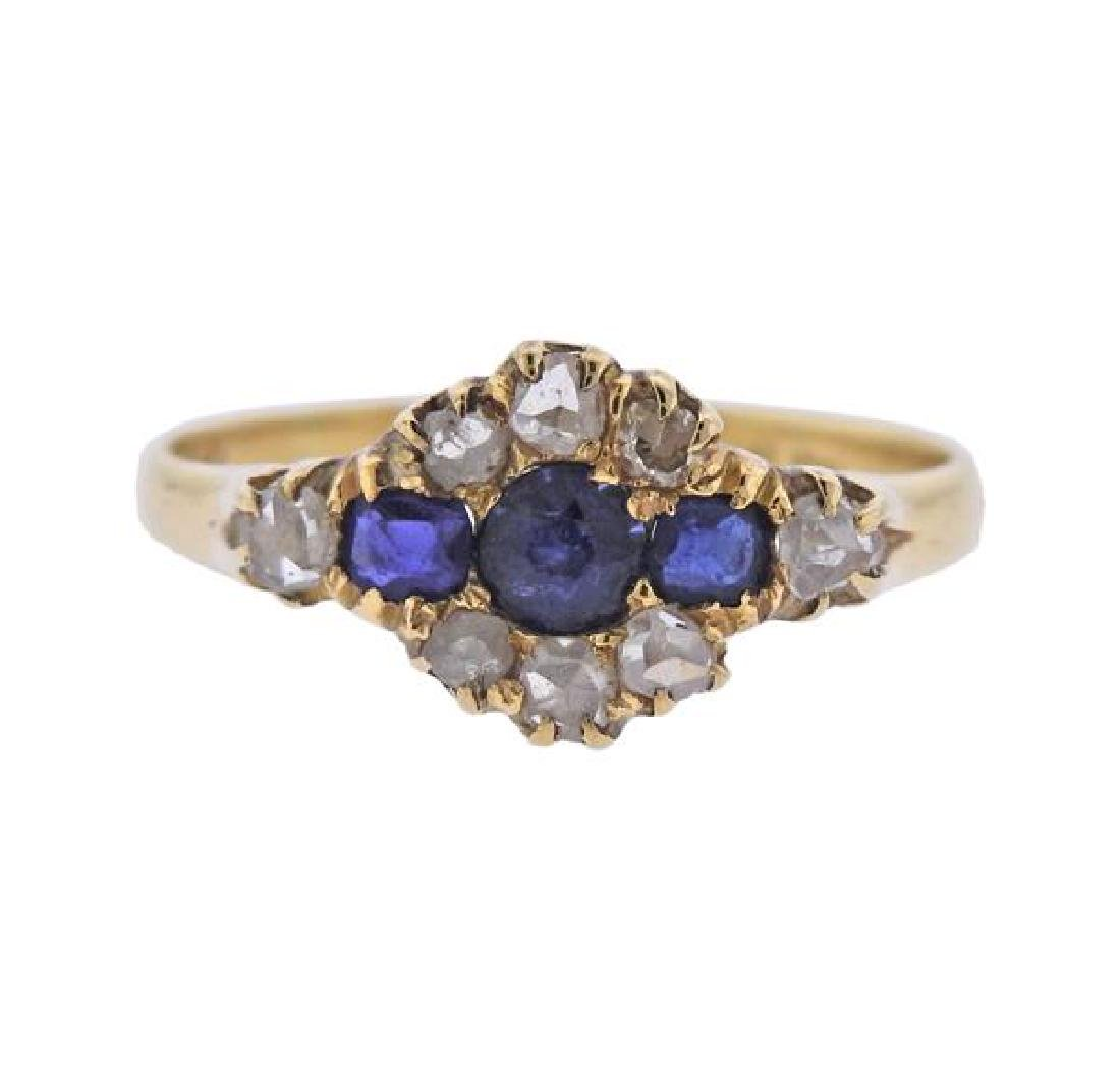 Antique 18K Gold Diamond Blue Gemstone Ring