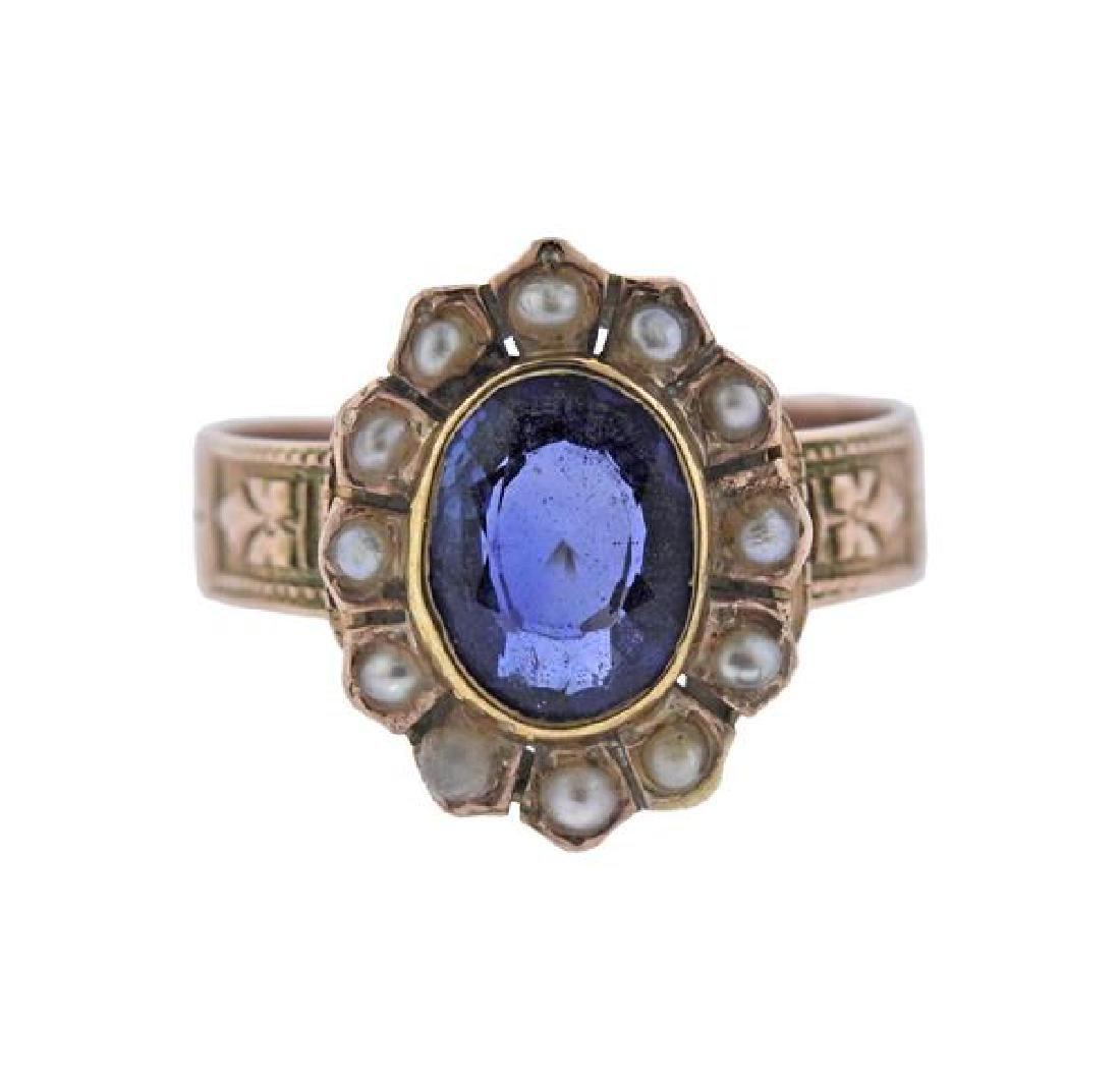 Antique 14K Gold Pearl Blue Gemstone Ring