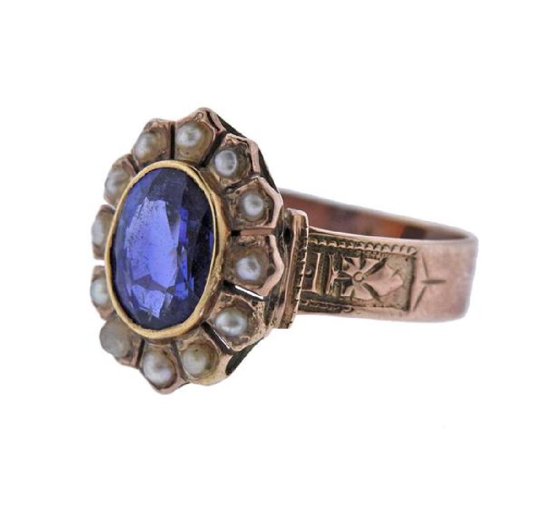 Antique 14K Gold Pearl Blue Gemstone Ring - 2