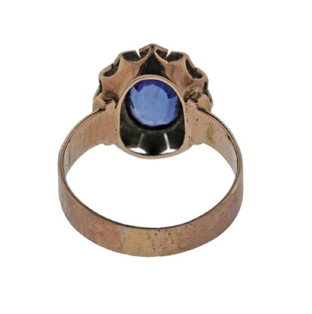 Antique 14K Gold Pearl Blue Gemstone Ring - 3