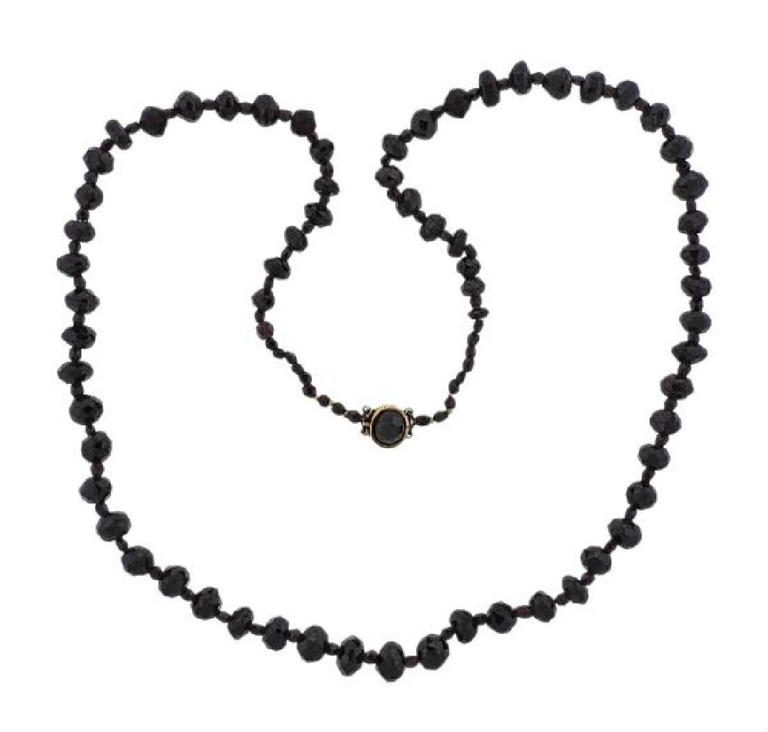 18K Gold Red Stone Bead Necklace