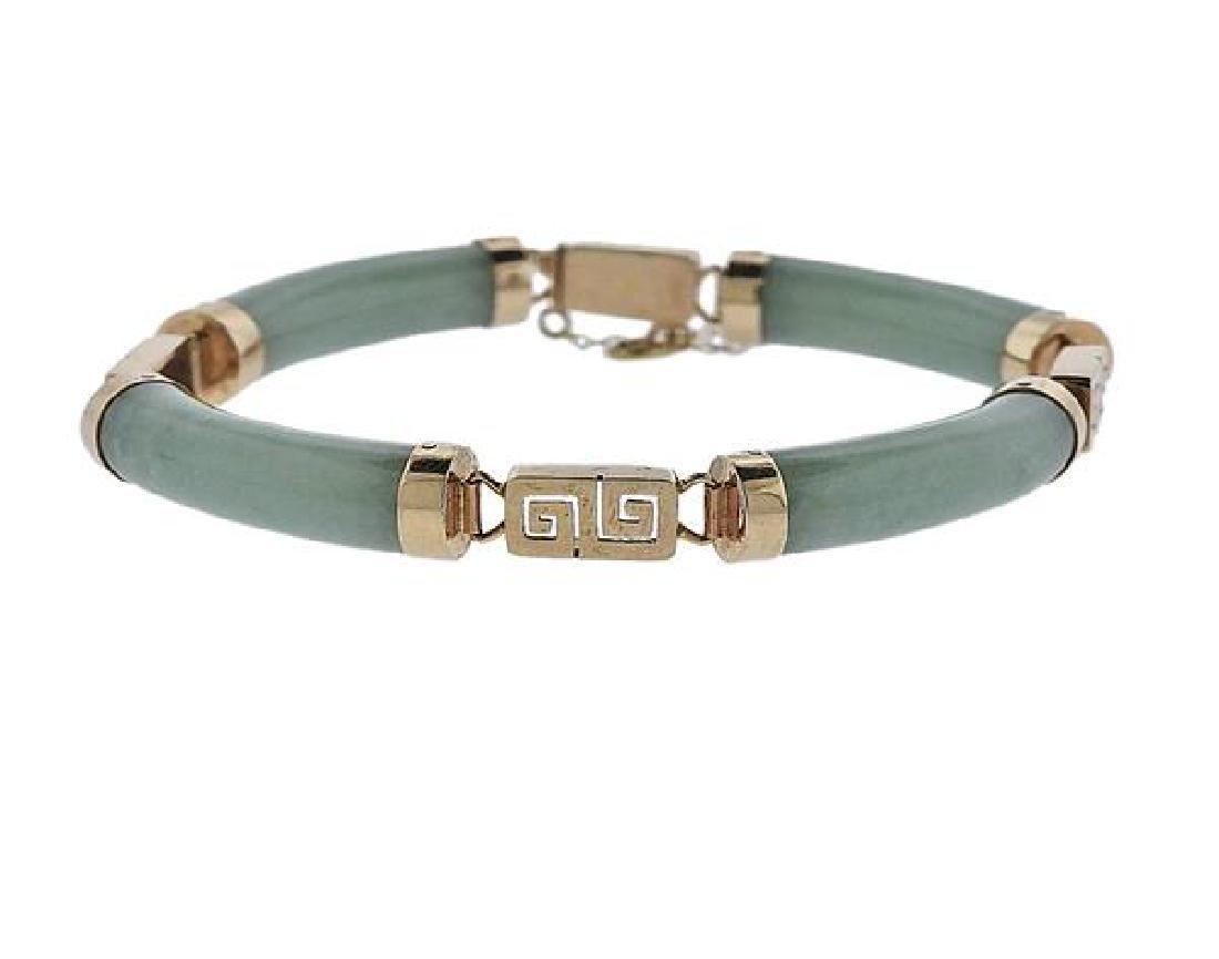 14K Gold Jade Bracelet