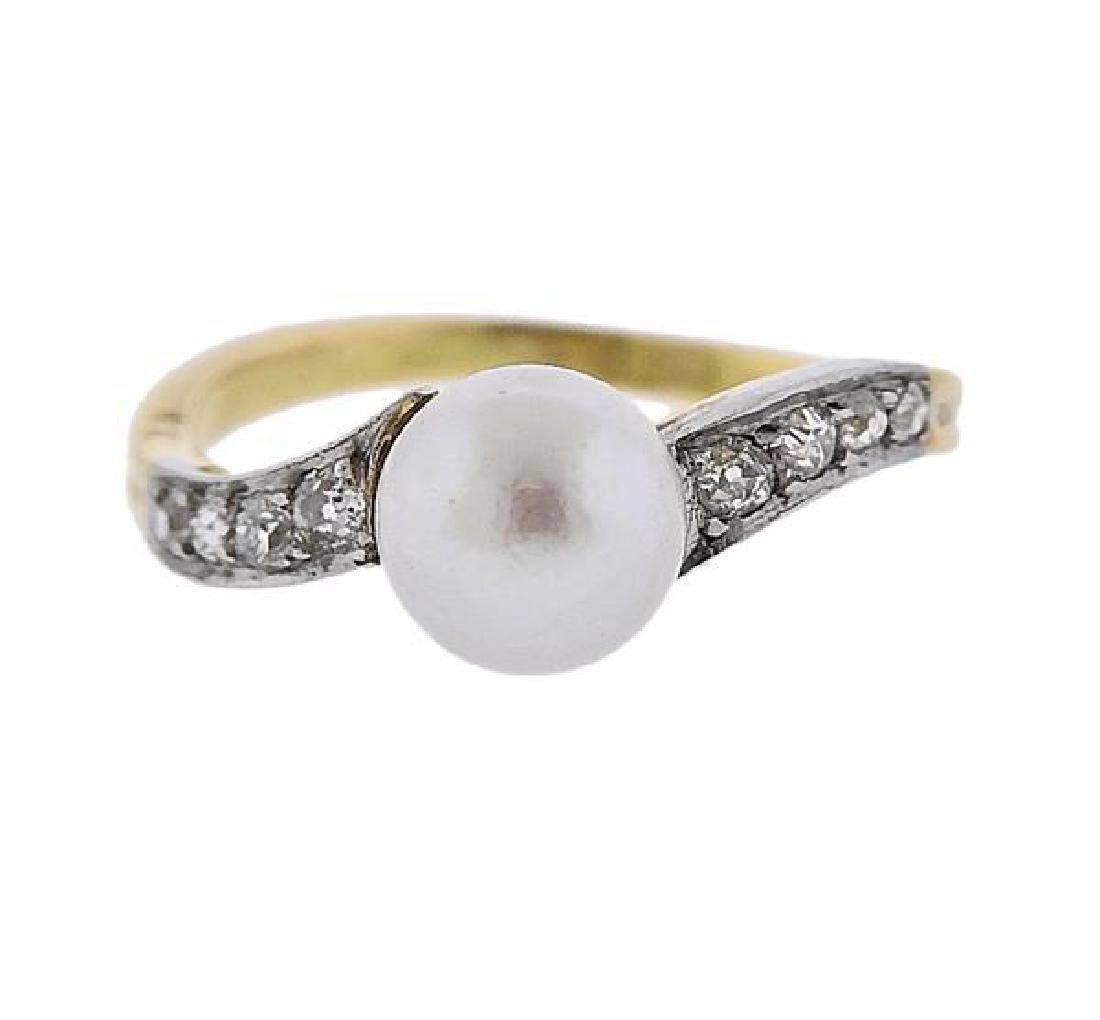 Platinum 18K Gold Diamond Pearl Ring