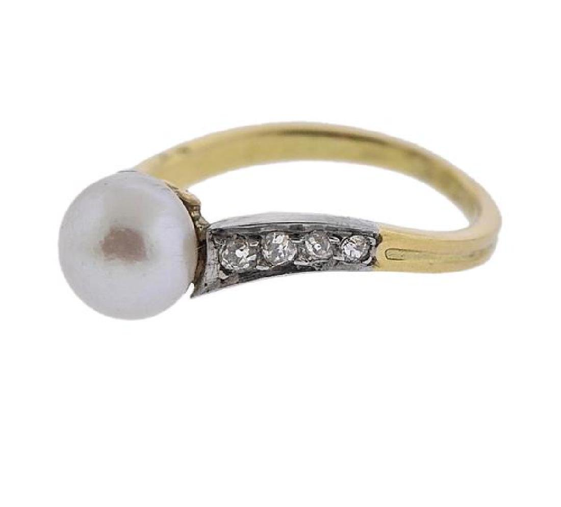 Platinum 18K Gold Diamond Pearl Ring - 2