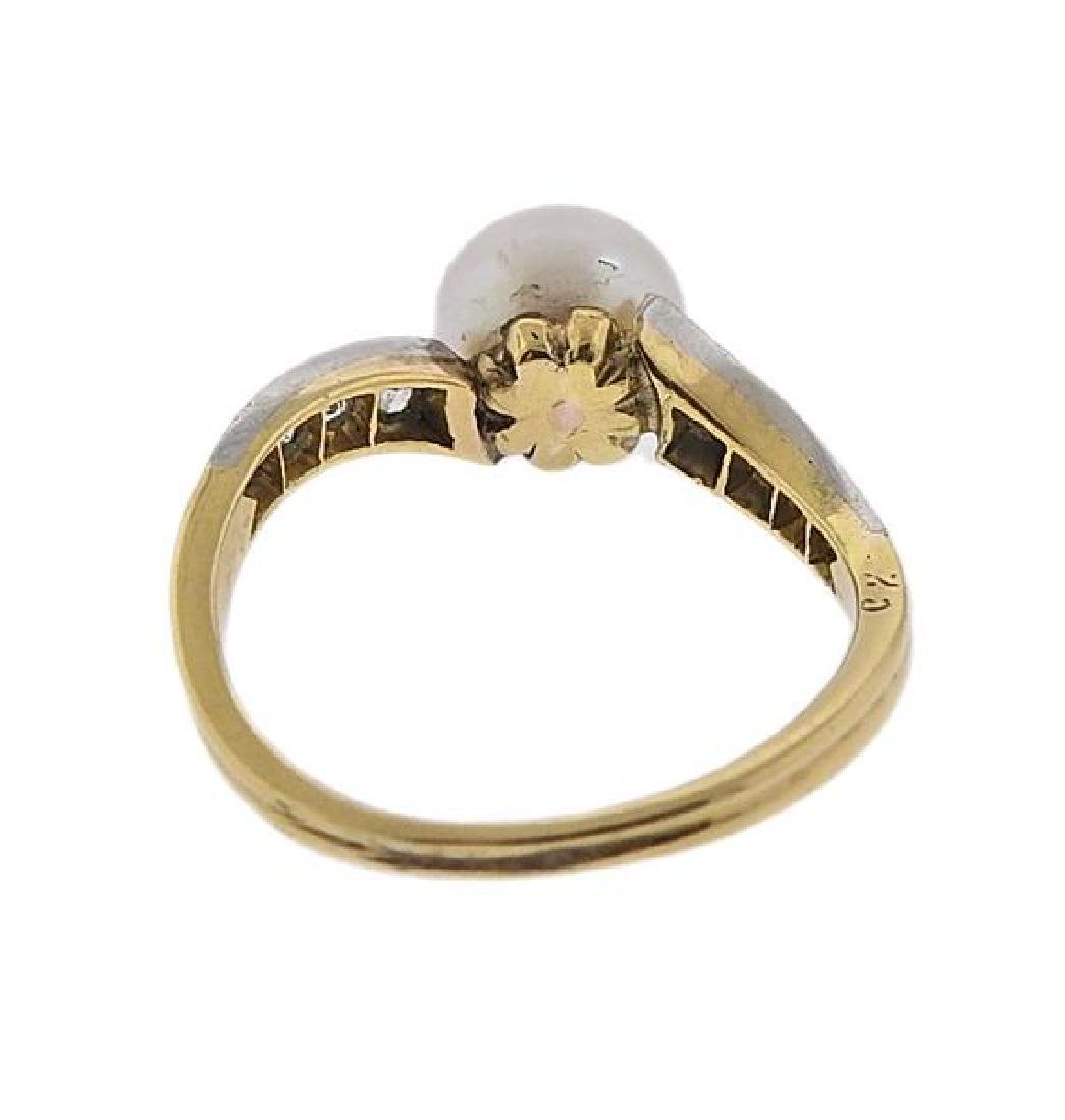 Platinum 18K Gold Diamond Pearl Ring - 3