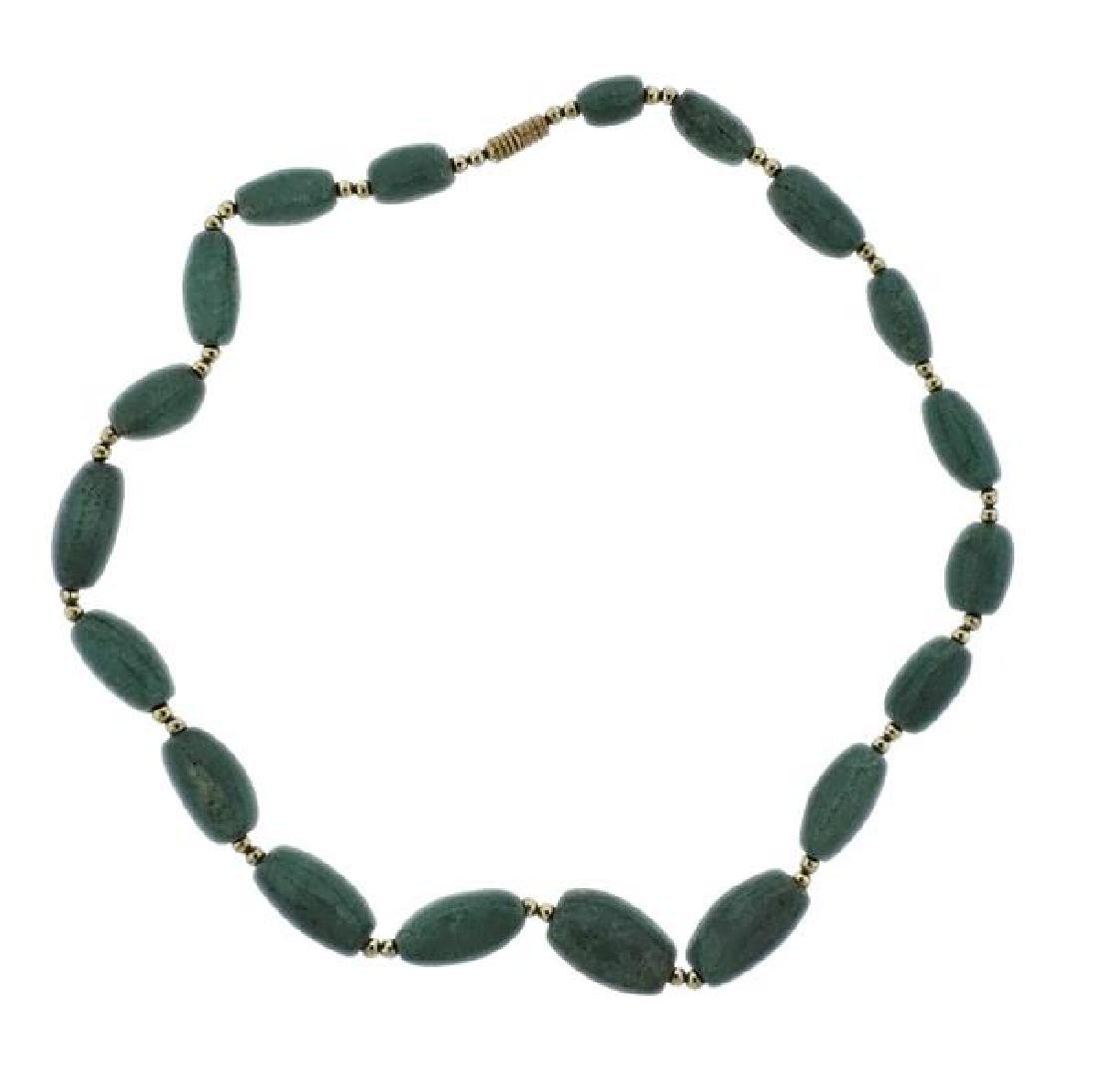 10K Gold Green Stone Necklace